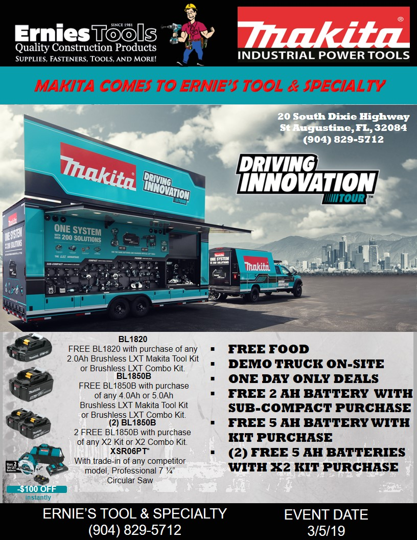 Makita Tool Event - Ernie's Tool & Specialty Co